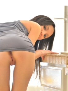 Aubrey Form Fitting Dress Upskirt No Panties Pussy Asshole - Picture 3