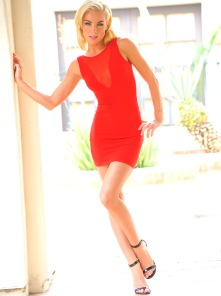 Heather blonde in red