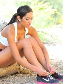 Michele on a remote trail