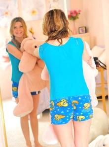 Serena pink room blue panties