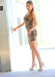 Ftv Nicole Sexy Animal Print Dress Blue Underwear Spreads Tight Teen Ass - Picture 2