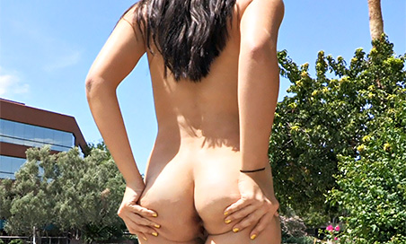 Alannah walking nude in public