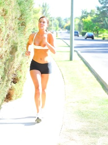 Harper nude yoga and a topless jog