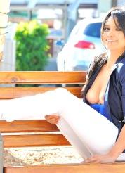 Jazmine is daring in blue