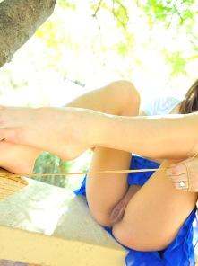 Sara blue ruffle upskirts